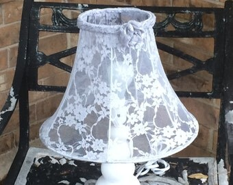 Gray lace lampshade