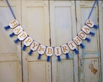Happy 1st Birthday Banner, Embossed White Blue and Gold Banner with Tulle, Boys First Birthday Banner, Blue and Gold Birthday Decorations