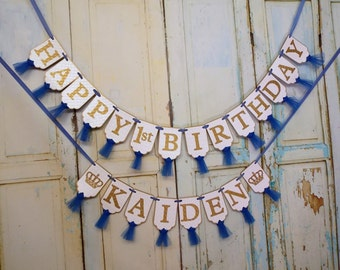 Happy 1st Birthday Banner, Boys Name Banner with Crowns Optional, White Blue and Gold Banner with Tulle, Boys First Birthday Decorations