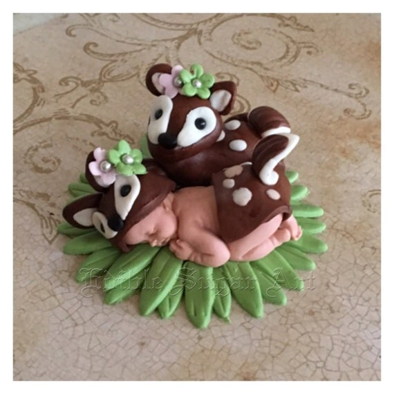 woodland deer baby shower baby deer fondant cake topper