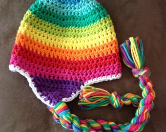 Rainbow hat, child crochet hat, adult crochet hat, newborn photo prop