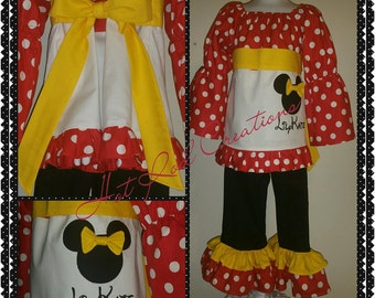 Minnie Mouse Inspired Ruffle Pants and Peasant Top