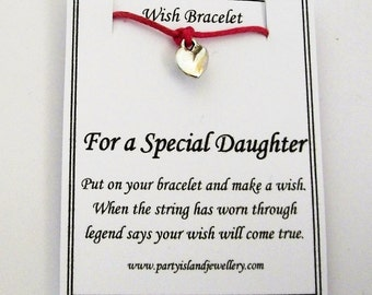 For a SPECIAL DAUGHTER Heart Friendship Wish Bracelet with Wish Message Card - Choose Colour