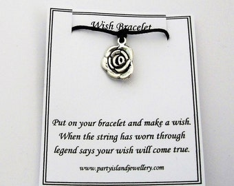 Black ROSE Friendship Wish Bracelet with Wish Message Card
