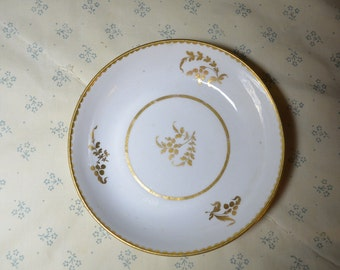 A Very Old Little English Plate in White with Gold Decoration From 1810