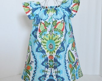 Toddler Girls Dress Little Girls Dress with Flutter Sleeves in Amy Butler Print Beach Dress Summer Dress