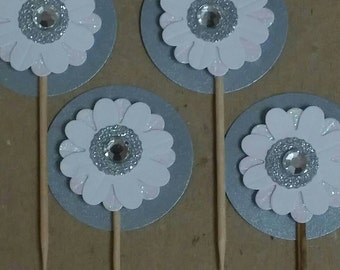 3D White and Silver Flower Cupcake Toppers Wedding Birthday Party Celebration (12)