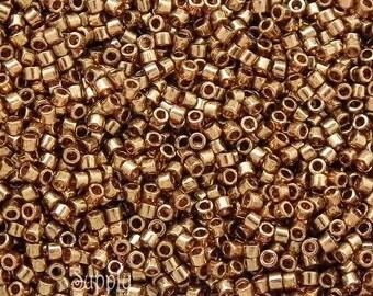 11/0 Miyuki Delica Seed Beads DB115 - Dark Topaz Gold Luster - 6 Gram Tube - Delica 115 - Dark Topaz Gold Luster Delica Beads