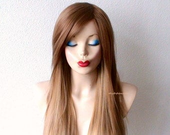 Ombre wig. Honey blonde long straight layered hair long side bangs wig. Fashion hairstyle two tone  golden blonde wig.