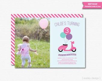 Scooter Invitation Printable Scooter Invite Photo Invitation Scooter Birthday Girls Birthday Invitation Picture Invitation Digital