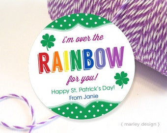 St. Patrick's Day Tags Personalized Rainbow Tag St. Patricks Day Party Printable Tags Customized Patricks Day Tags Patricks Day Decor Favors