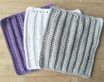 Crochet Wash Cloths - Cotton Crocheted Wash Cloths - Spa Cloths - Crochet Baby Wash Cloths - Kitchen - Bathroom - Baby Wipes - Washcloths