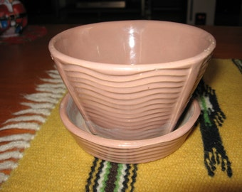 1950s McCoy Pottery Dusty Rose Flower Pot with Attached Saucer