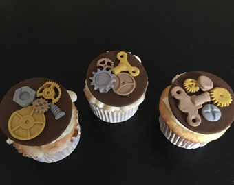 Steampunk  Inspired Fondant Cupcake Toppers