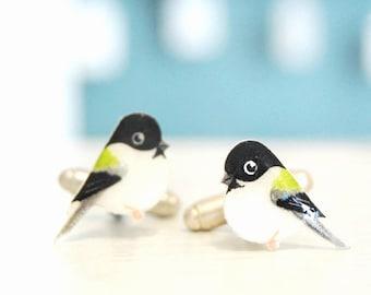 Chickadee cuff links. Bird Cufflinks. Hand drawn cuff links. Mens accessories