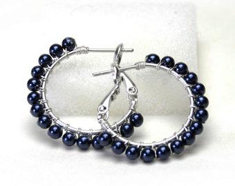 "Dark Navy Blue Pearl Hoop Earrings with Posts & Leverbacks - Swarovski Crystal Pearls, Wire Wrapped Silver Plated Hoops (20mm, Beaded 1"")"