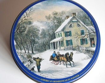 Currier & Ives Mint Tin ~ Vintage Collectibile Candy Tin Can, American Homestead in Winter Scene Victorian Farmhouse Country Cottage Decor