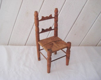 Vintage wood doll chair with jute seat, rope seat, carved chair, country farmhouse decor, 12 inch chair, small chair