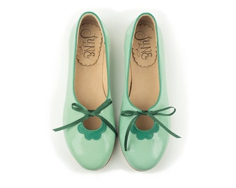Flora Aqua - Leather ballet flats in green - Handmade by Quiero June - Free Shipping