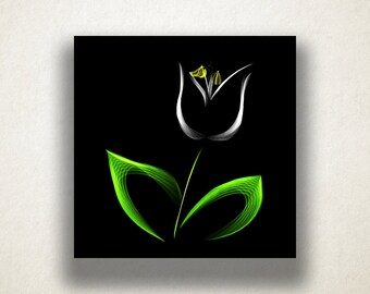 White Tulip Canvas Art Print, Abstract Tulip Wall Art, Floral Canvas Print, Artistic Wall Art, Canvas Art, Canvas Print, Home Art, Wall Art