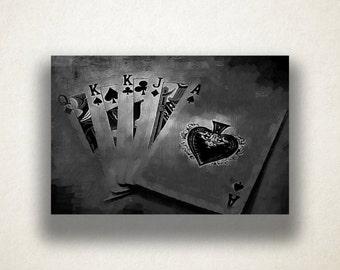 Artistic Poker Hand Canvas Art Print, Poker Wall Art, Cards Canvas Print, Close Up Wall Art, Canvas Art, Canvas Print, Home Art, Wall Art