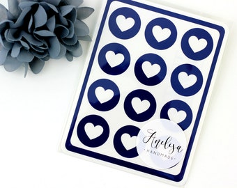 "Envelope Seals - 1"" Heart Stickers - Navy - Navy Label - Party Favors - Gift - Gift Wrapping - Birthdays - Wedding - Seals"