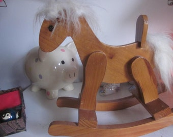 Vntage Wooden toy rocking horse.  small cute rocking pony with white hair. Waldorf wooden Christmas toy.