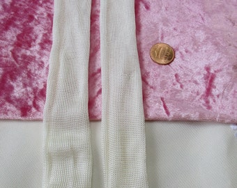 "Doll Socks Long 8"" Rayon Silky Type Vintage White off white"