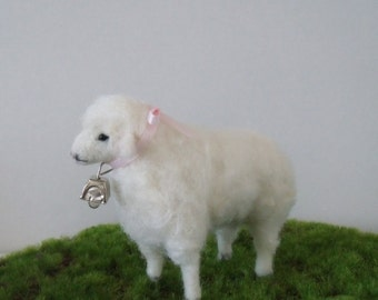 Felted Sheep with a bell ( pink ribbon )