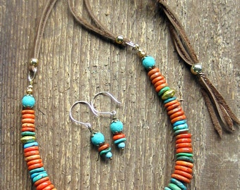 Turquoise Coral Graduated Disc Necklace, Bohemian Jewelry, Turquoise Necklace, Coral Necklace, Southwest Jewelry