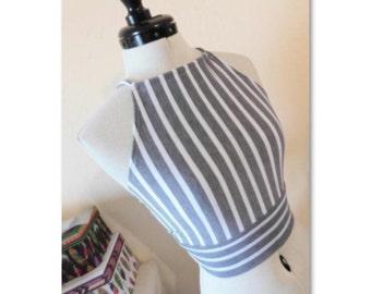 Adjustable and Halter Stripes Crop Top