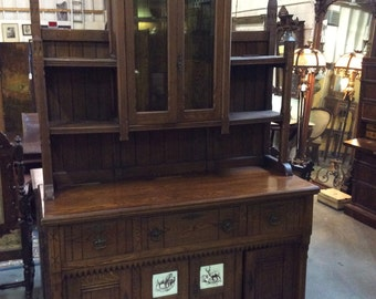 Aesthetic Movement China Cabinet Sideboard American Ash c1880 with Minton Tiles