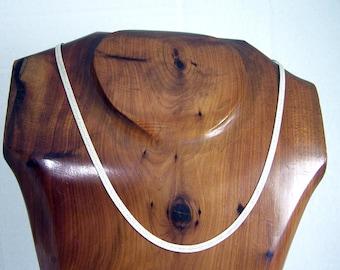 Vintage Sterling Silver Herringbone Necklace, Flat Silver Necklace, Sterling Silver Chain