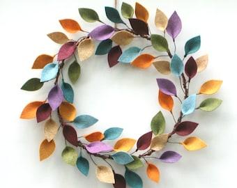 Colorful Wreath with Felt Leaves - Modern Year Round Wreath - All Season Felt Wreath