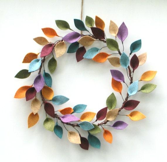 https://www.etsy.com/listing/258466176/colorful-wreath-with-felt-leaves-modern