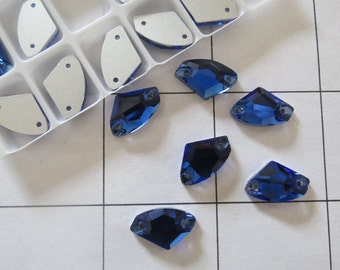 Set of 24 Flat-back Blue Sapphire Acrylic Rhinestone Shaped 10mmx14mm (A-105)