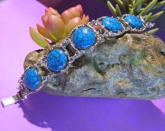 Sizzlin Summer Sale Turquoise Blue Vintage Jewelry Silver Tone Bracelet 7 1/4