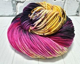 "Hand dyed ""Lollapalooza"" superwash merino DK yarn"