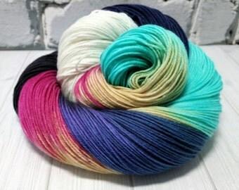 "Hand dyed ""Sunday Morning"" superwash merino sock yarn"