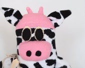 Sock monkey, sock animal, soft plush toy cow. Cherie Cow.