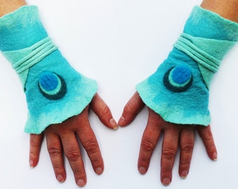 Unique handmade felt Gauntlets hot transition to wrap wrapping arm warmers wrist warmers cuffs cuffs cuff