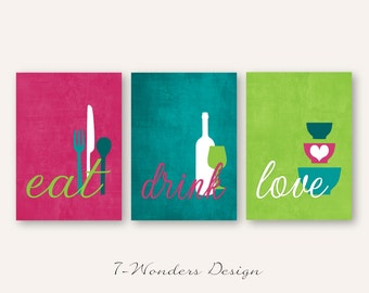 Kitchen Wall Art Print Set - Eat Drink Love - Fuchsia, Teal, Lime, White // Modern Kitchen Decor // Set of (3) Many Sizes // Unframed