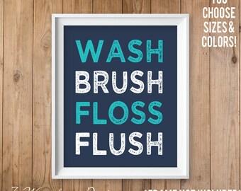 Kids Teens Bathroom Art, Wash Brush Floss Flush Unframed Modern Art Print 5x7, 8x10 or 11x14 Home and Living Shower Bathroom - Unframed