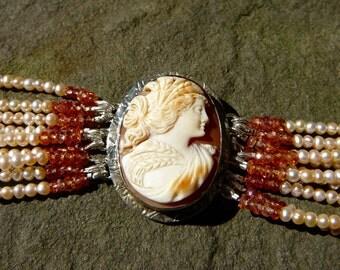 Pearl Bracelet, Deco Bracelet, Cameo Jewelry, Cameo, Antique Cameo, Pearl, Deco Jewelry, Art Deco Jewelry, Peach Pearl Bracelet, Pearls