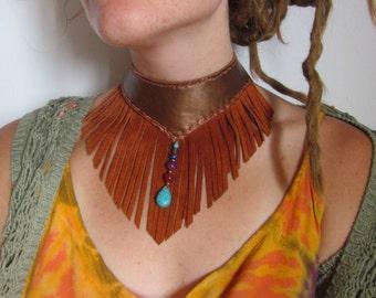 Fringe leather choker necklace,  festival jewelry