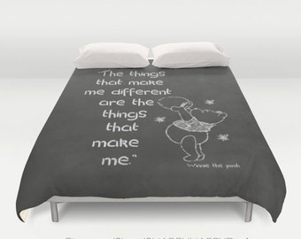 """Different"""" quote Chalk Choose B&W or colored / Duvet Comforter Cover Bedding Art  2nd ships FREE! / Sizes Full, Queen ( XL Twin) or King"""