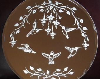 Hummingbirds in the Garden Acid Etched Mirror