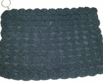 1940s Purse Black Corde Clutch 40's Evening Bag Vintage Boho Black Crochet Handbag Small Corde Purse Corde Make-Up Bag Metal Zipper
