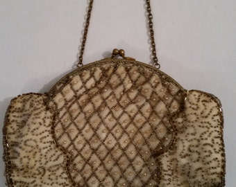 Vintage Beaded Purse 1950's Ivory Satin Evening Handbag Vintage Bride's Purse Metal Frame Chain Handle Victorian Style Bag Made by Charlet