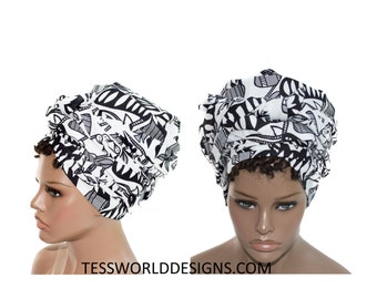 Black and white head wraps/ Fabric from Africa/ Scarves  Gift Ideas / African Head wraps/African hair accessory/ African Head scarf/ HT142